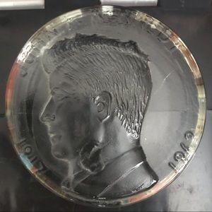 JFK JOHN F. KENNEDY HALF DOLLAR GLASS PAPERWEIGHT